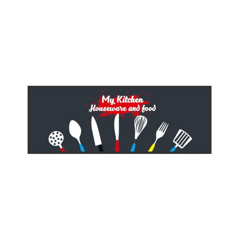 tapis de cuisine, cuillères et fourchettes