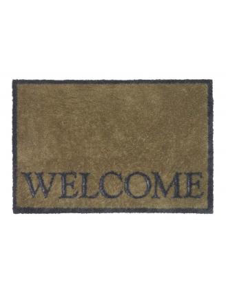 Paillasson coton design Home  Welcome beige