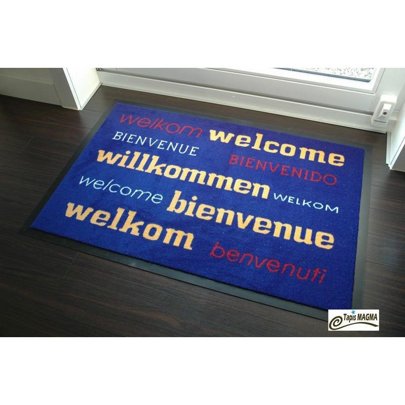 Paillasson bienvenue Bleu 90X150 cm