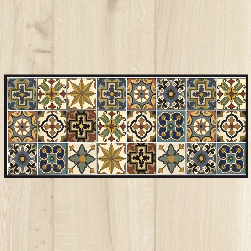 Tapis cuisine carreaux vintage for Tapis devant evier design