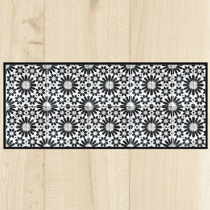 Tapis de cuisine carreaux gris for Tapis pvc carreaux de ciment