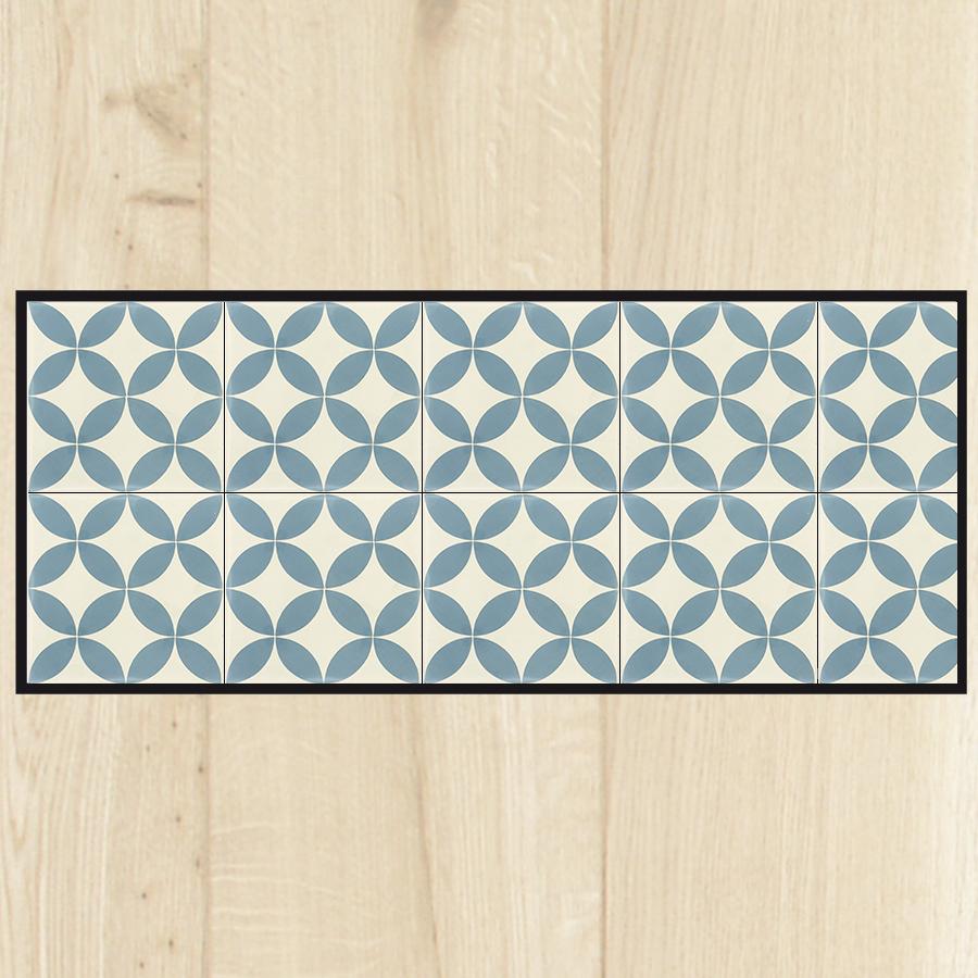 tapis cuisine carreaux ciment bleu