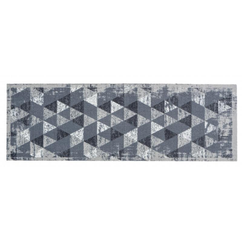 tapis cuisine gris, tapis de cuisine triangle gris, tapis de cuisine effet  optique,