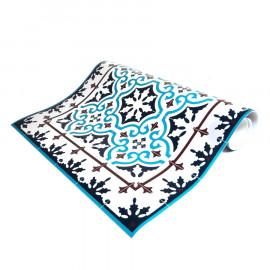 tapis vinyle de couleur bleue