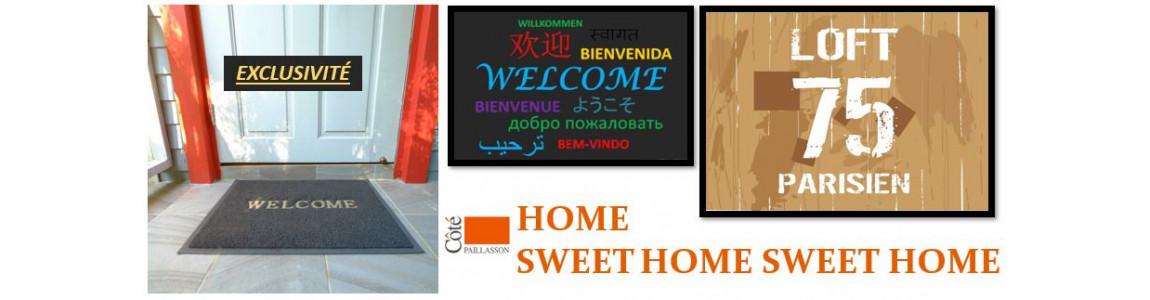 le tapis d'entrée Home Sweet Home est le message d'accueil tradition